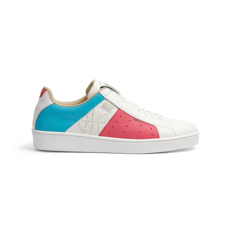 Women's Icon Genesis White Hot Pink Blue Leather Sneakers 91993-015