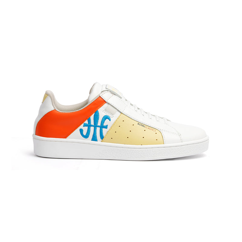 Women's Icon Genesis Spotlight White Yellow Orange Leather Sneakers 91993-032 - ROYAL ELASTICS