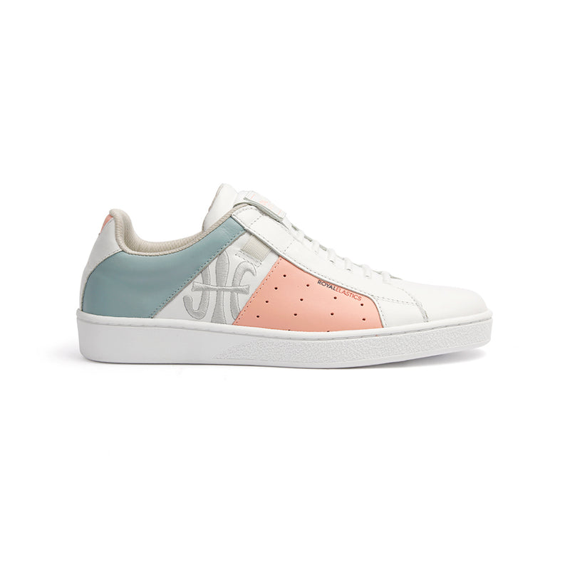 Women's Icon Genesis White Peach Light Blue Leather Sneakers 91993-051 - ROYAL ELASTICS