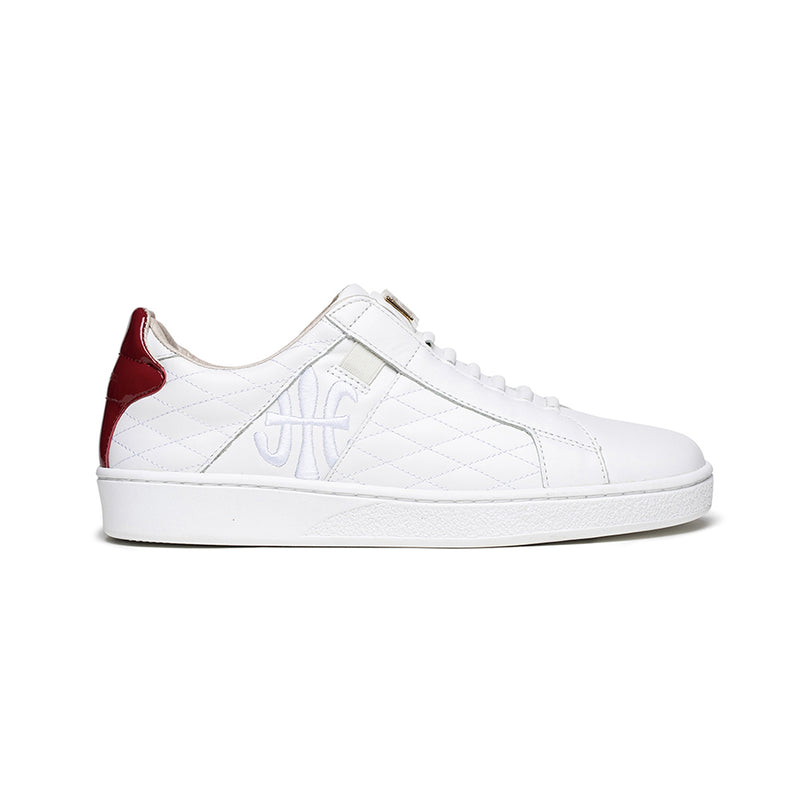 Women's Icon Lux White Red Leather Sneakers 92503-001