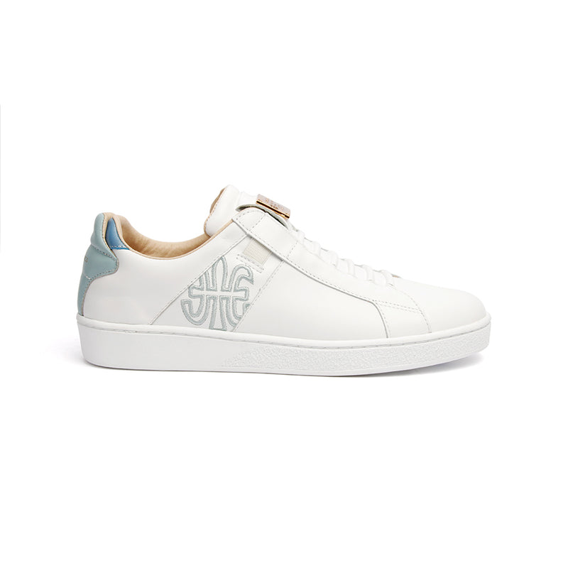 Women's Icon SBI White Blue Leather Sneakers 92592-050