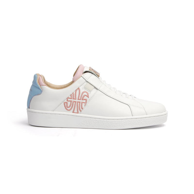 Women's Icon SBI White Blue Pink Leather Sneakers 92593-065