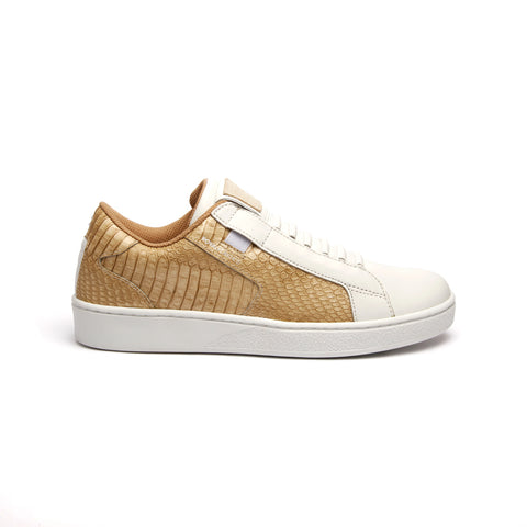 Women's Adelaide White Gold Leather Sneakers 92683-220