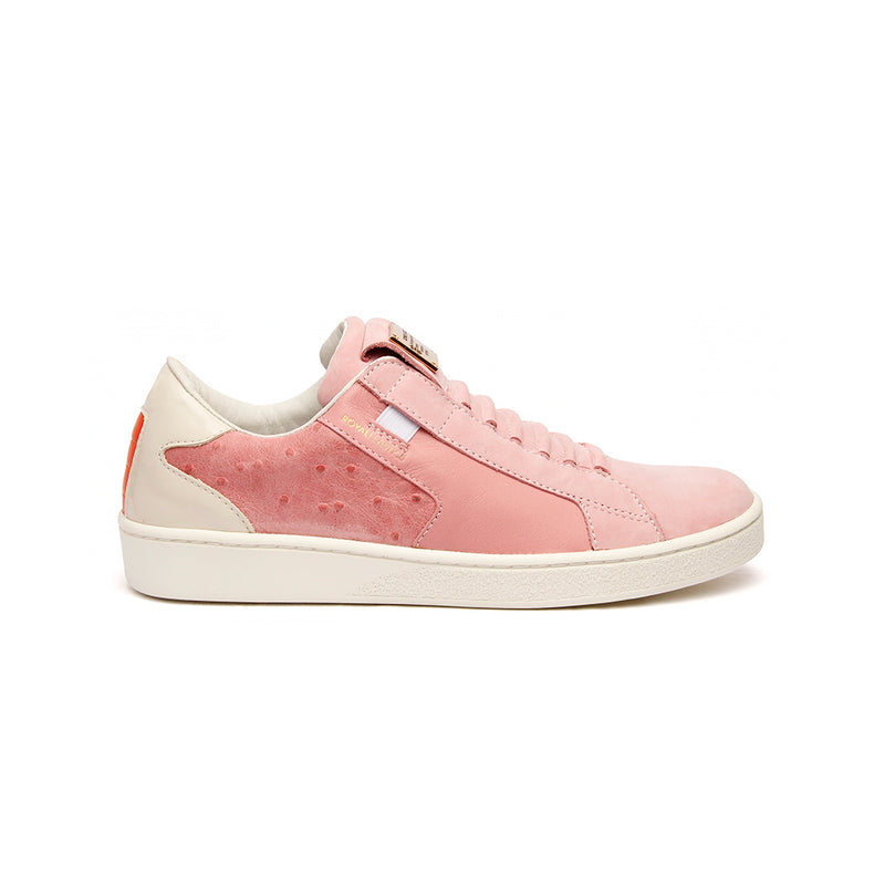 Women's Adelaide Pink Gray Leather Sneakers
