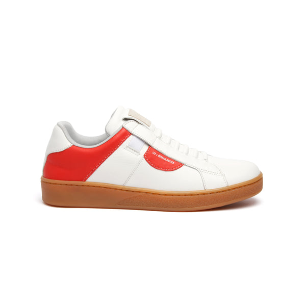 Women's Icon Dots White Red Leather Sneakers 92983-010