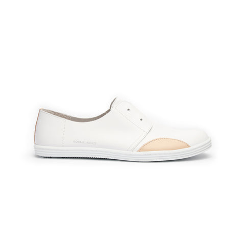 Women's New York White Nude Leather Flats 93882-001
