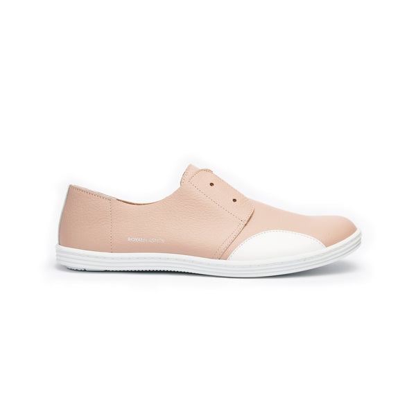 Women's New York Nude White Leather Flats 93882-110