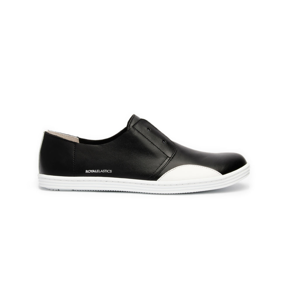 Women's New York Black White Leather Flats 93882-990