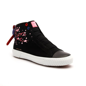 Women's Harajuku Sakura Black Canvas High Tops - ROYAL ELASTICS