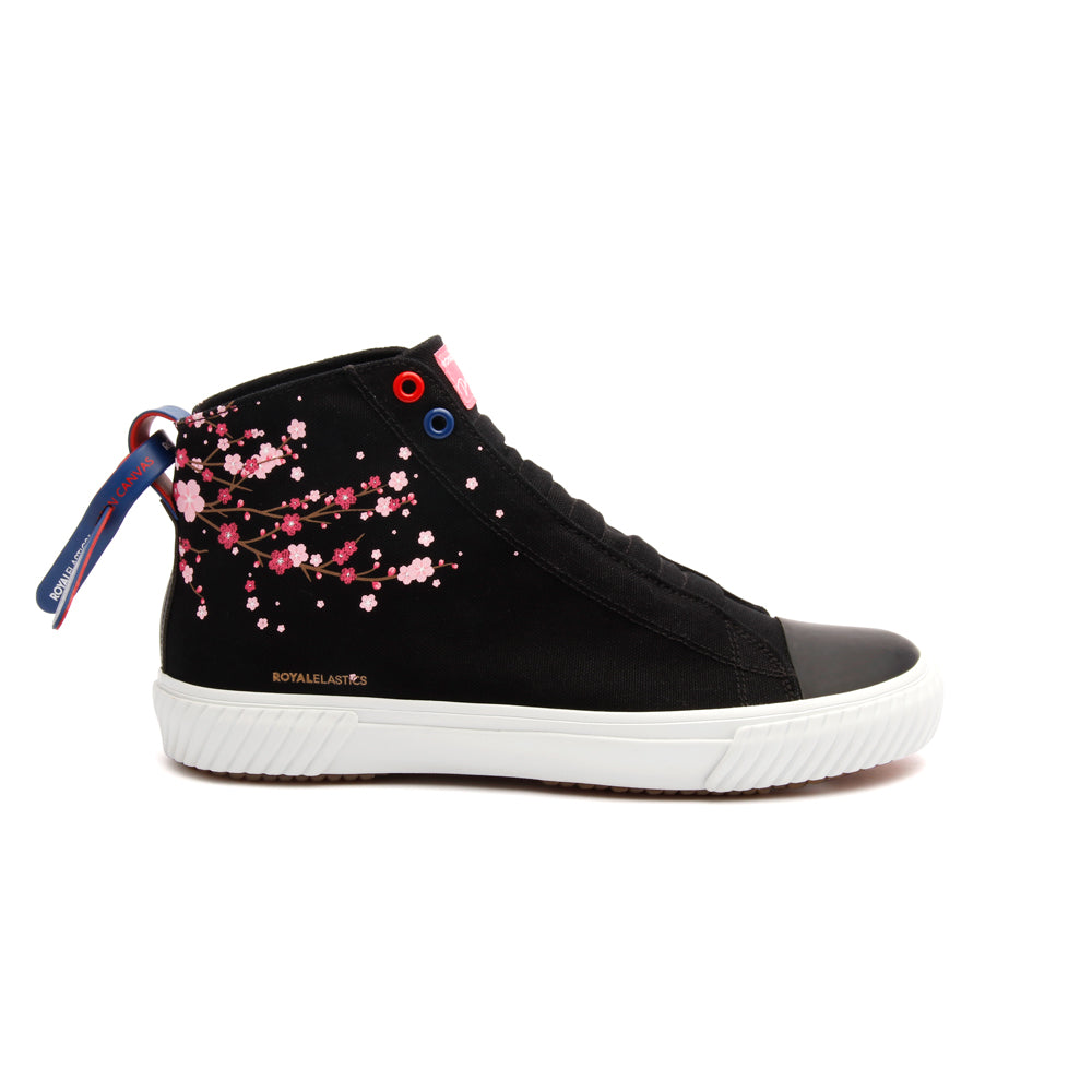 Women's Harajuku Sakura Black Pink Canvas High Tops 94783-991 - ROYAL ELASTICS