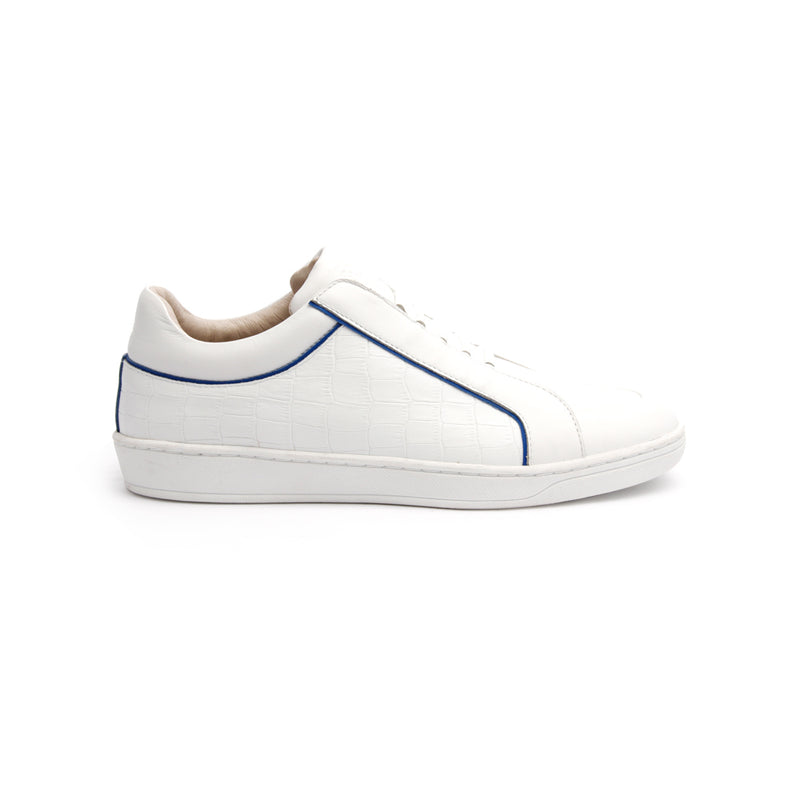 Women's Duke White Blue Leather Sneakers 95291-005 - ROYAL ELASTICS