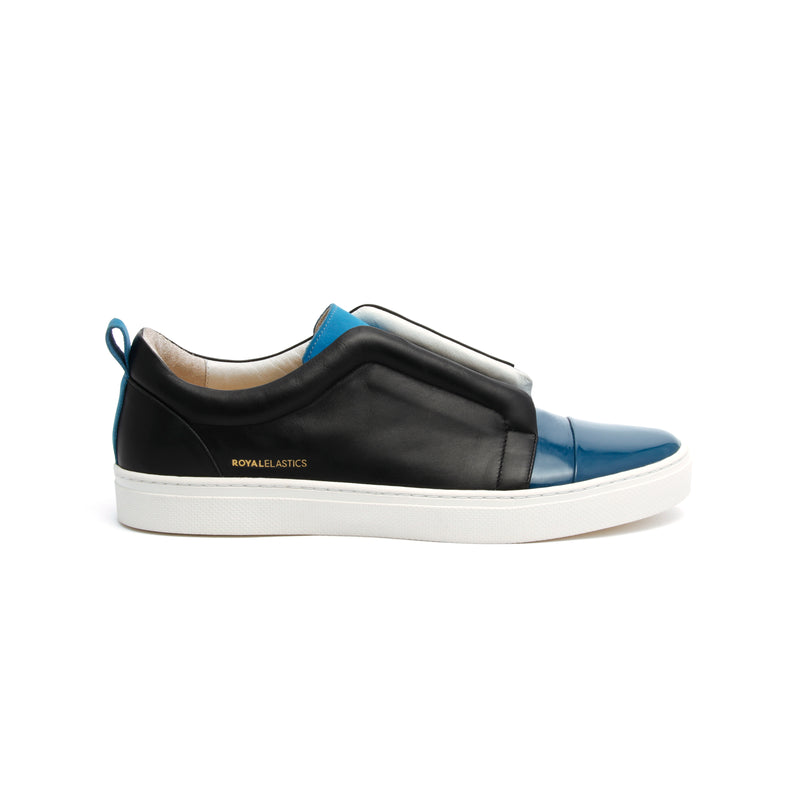 Men's Meister Black Moroccan Blue Leather Low Tops - ROYAL ELASTICS