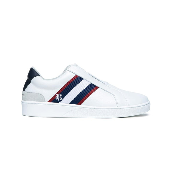 Men's Bishop White Red Blue Leather Sneakers 01712-051