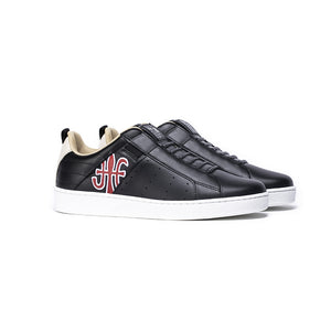 Men's Icon Manhood Black Red White Leather Sneakers 02094-991