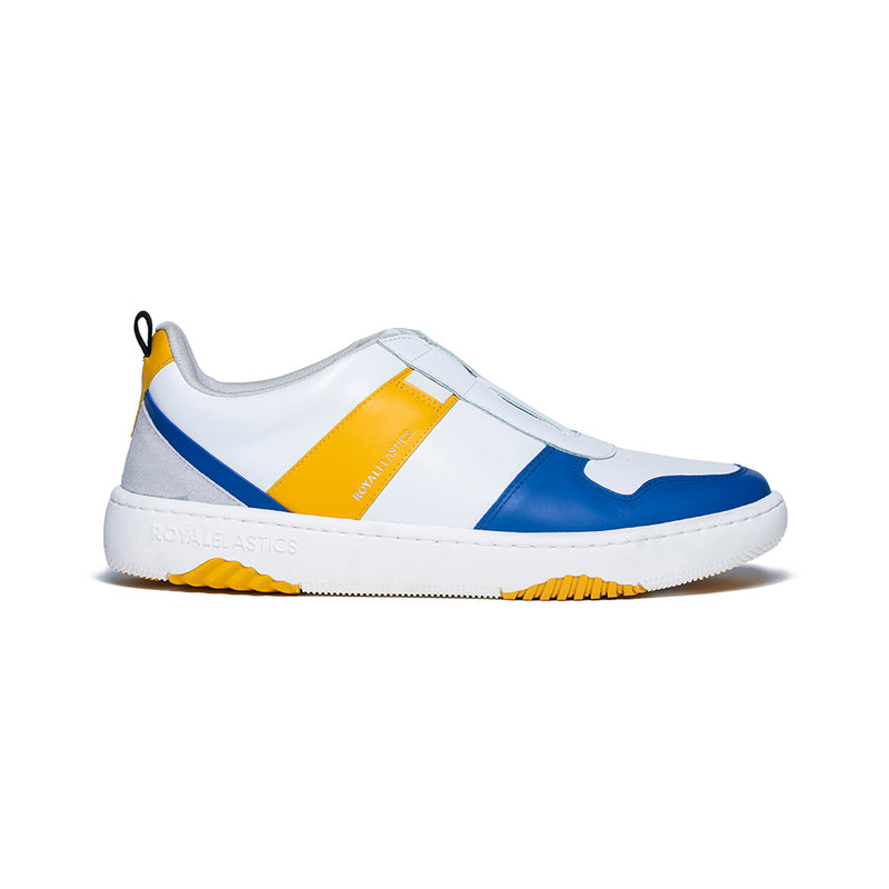 Men's Rider White Blue Yellow Leather Sneakers 06794-035
