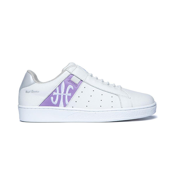 Women's Icon White Purple Logo Leather Sneakers 91912-068