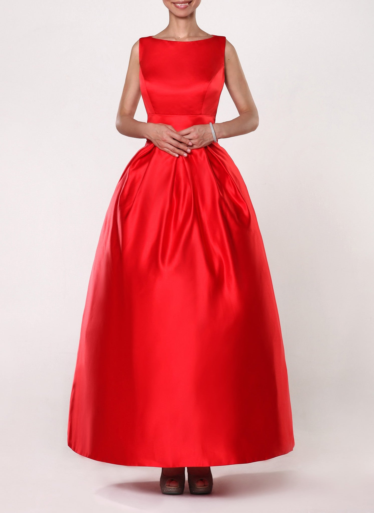 Cap Sleeve Satin Evening Gown Ball Gown Custom Made Gown - Yalan ...