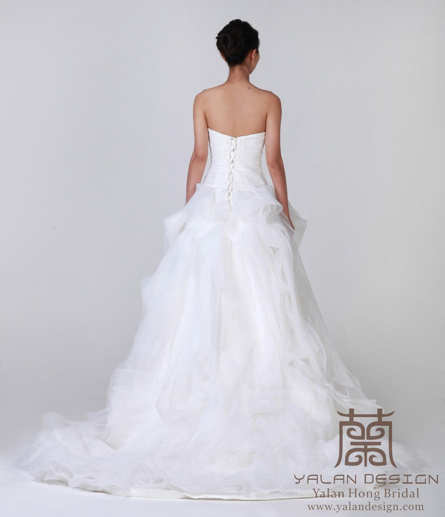Organza Ball Gown Wedding Dress with Ruffled Skirt - Yalan Wedding ...