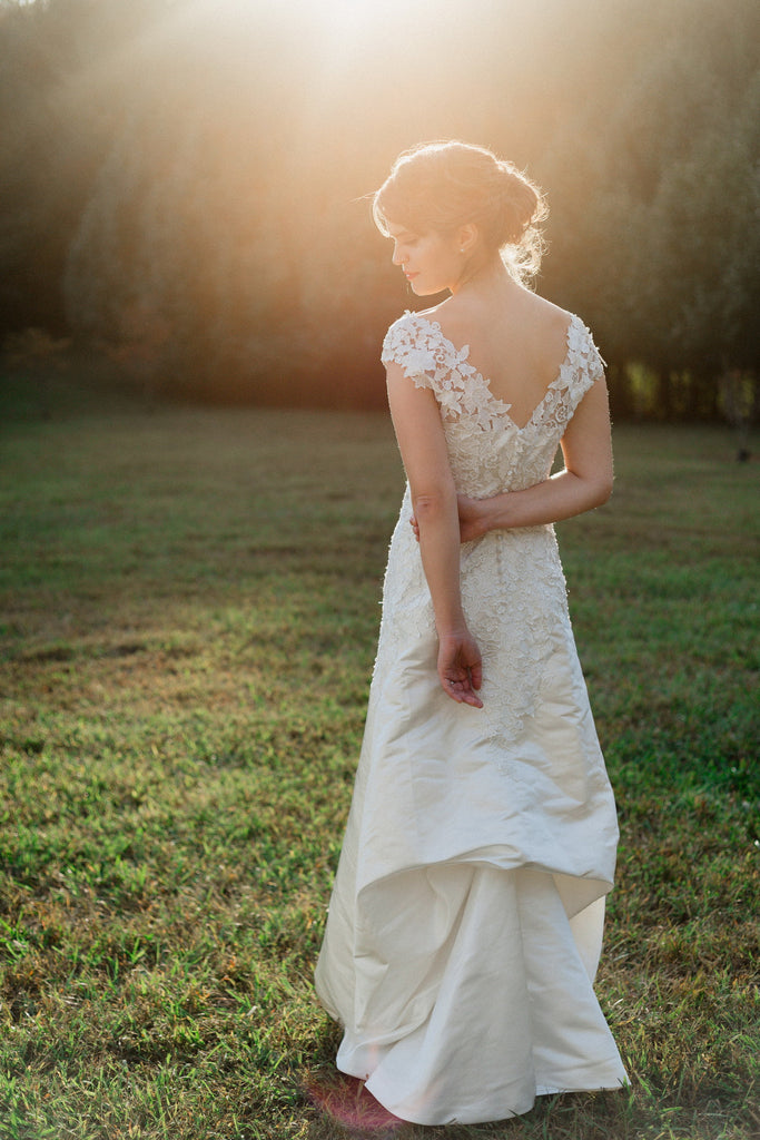 Cap Sleeve Lace Over Satin Wedding Dress With Illusion