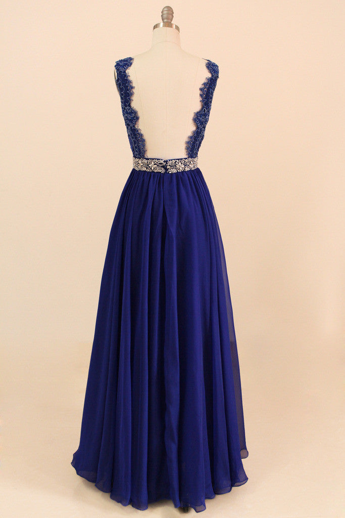 Navy Blue Evening Gown Lace Bridesmaid Dress Full Length - Yalan ...
