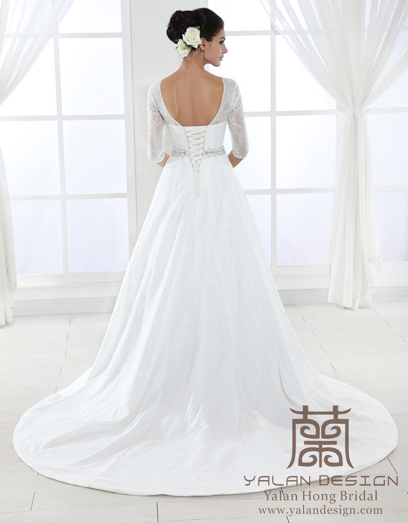 Long Sleeves Lace Ball Gown Custom Designed Wedding Gowns - Yalan ...
