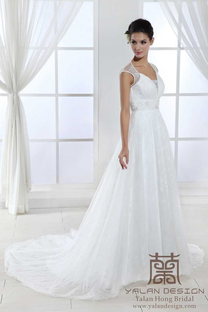 Cap Sleeve Lace Gown With Keyhole Back Custom Made