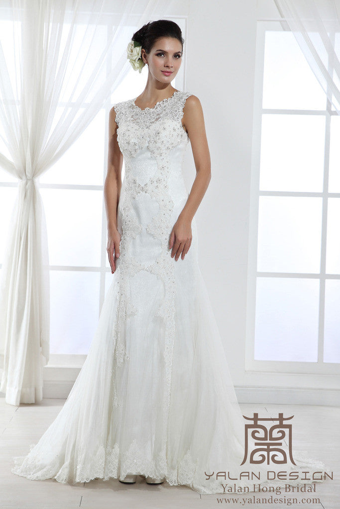 French Lace Over Satin Wedding Dress with Appliques - Yalan Wedding ...