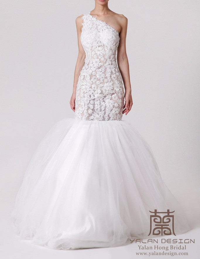 Illusion Lace Wedding Gown Fit and Flare - Yalan Wedding Couture