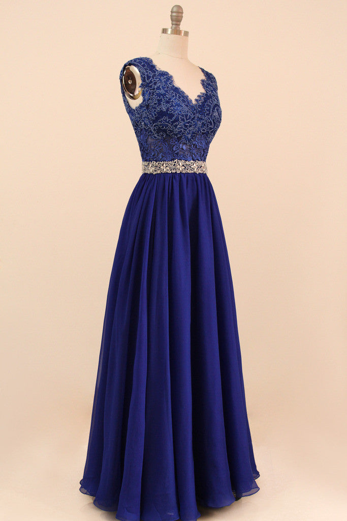 668ca376b4745 Navy Blue Evening Gown Lace Bridesmaid Dress Full Length - Yalan ...