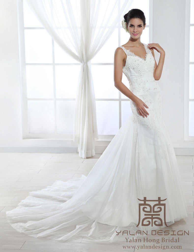 Cap sleeve Lace Over Satin Wedding Dress with B - Yalan Wedding Couture