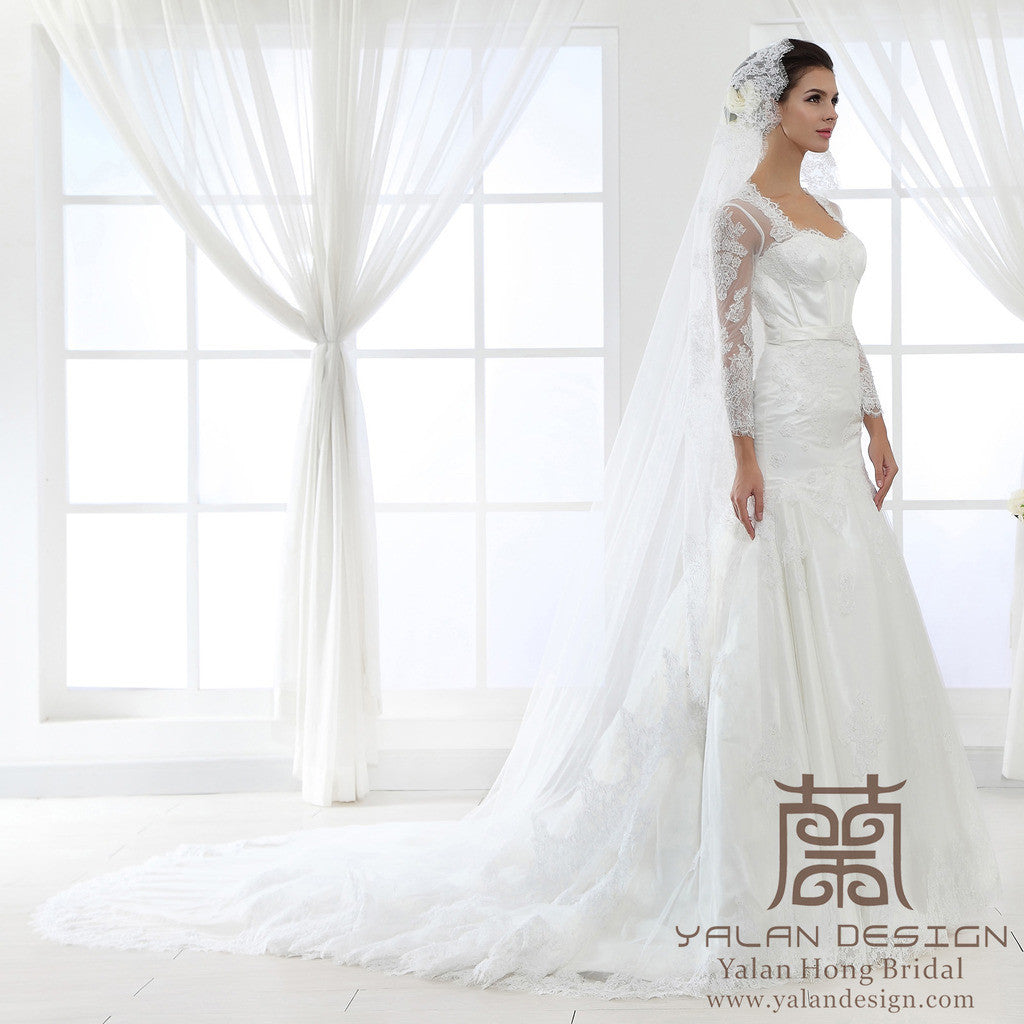 Long Sleeves Lace Ball Gown with Cathedral Train - Yalan Wedding Couture