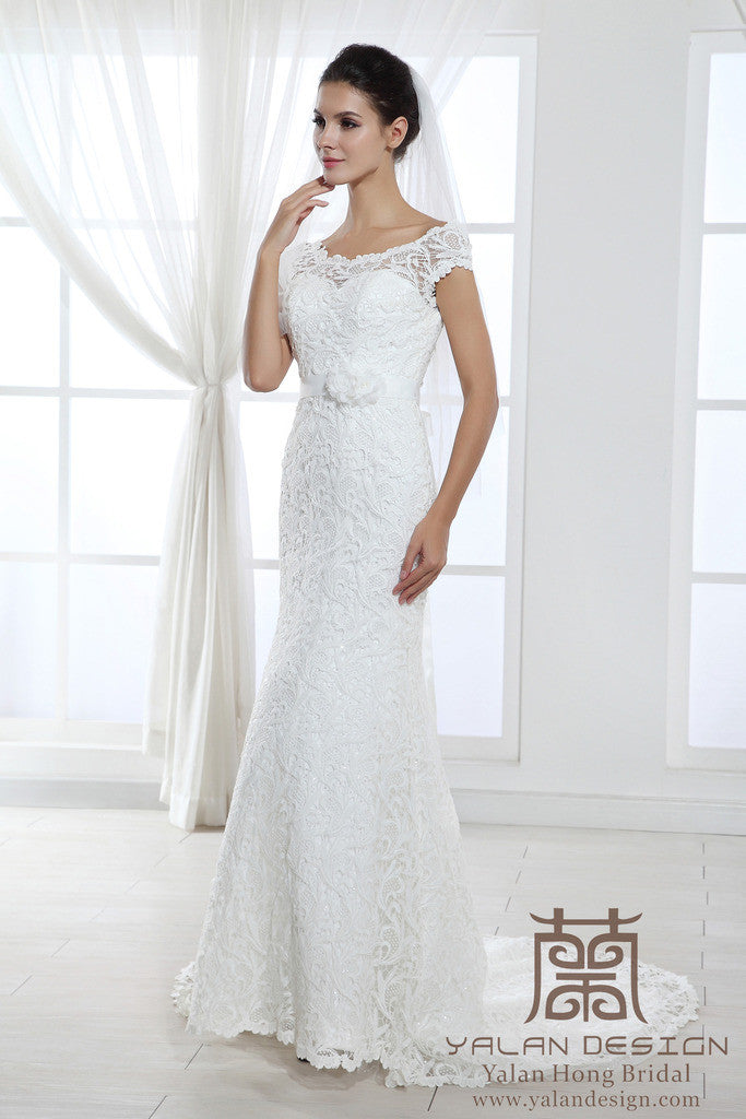 Cap Sleeves Lace Over Satin Wedding Dress