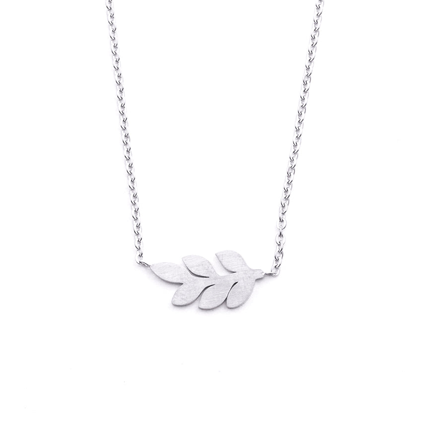 Silver - Stainless Steel Leaf Cutout Mini Dainty Minimalist Necklace
