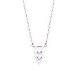 Silver - Stainless Steel Geometric Triangles Cutout Mini Dainty Minimalist Necklace
