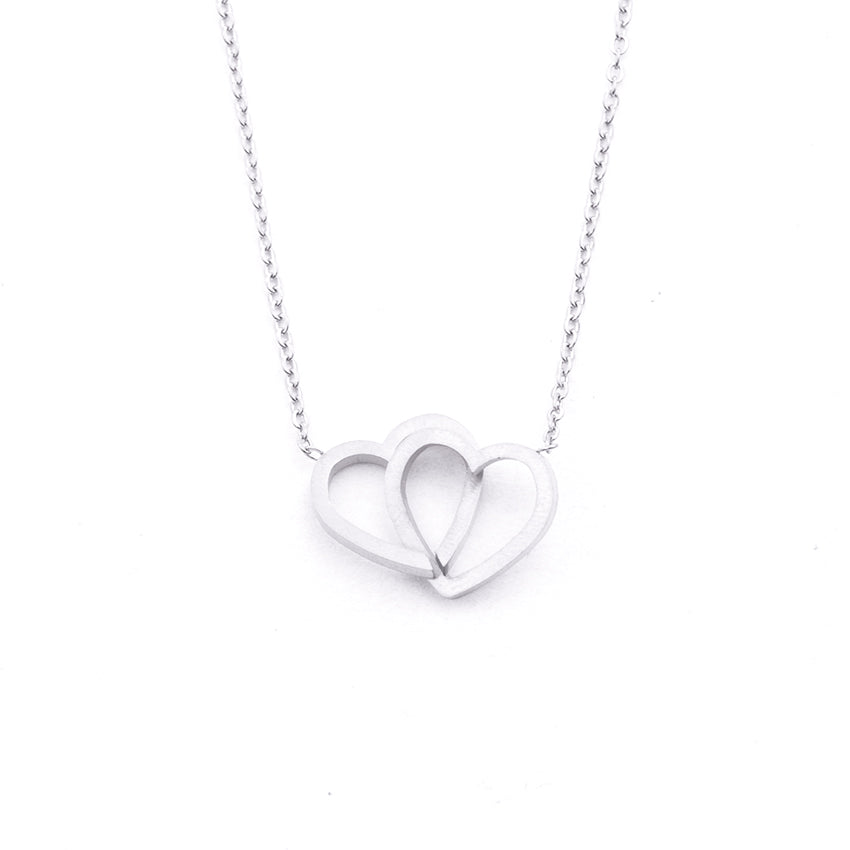 Silver - Stainless Steel Double Hearts Cutout Mini Dainty Minimalist Necklace