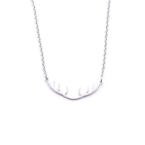 Silver - Stainless Steel Deer Antler Cutout Mini Dainty Minimalist Necklace