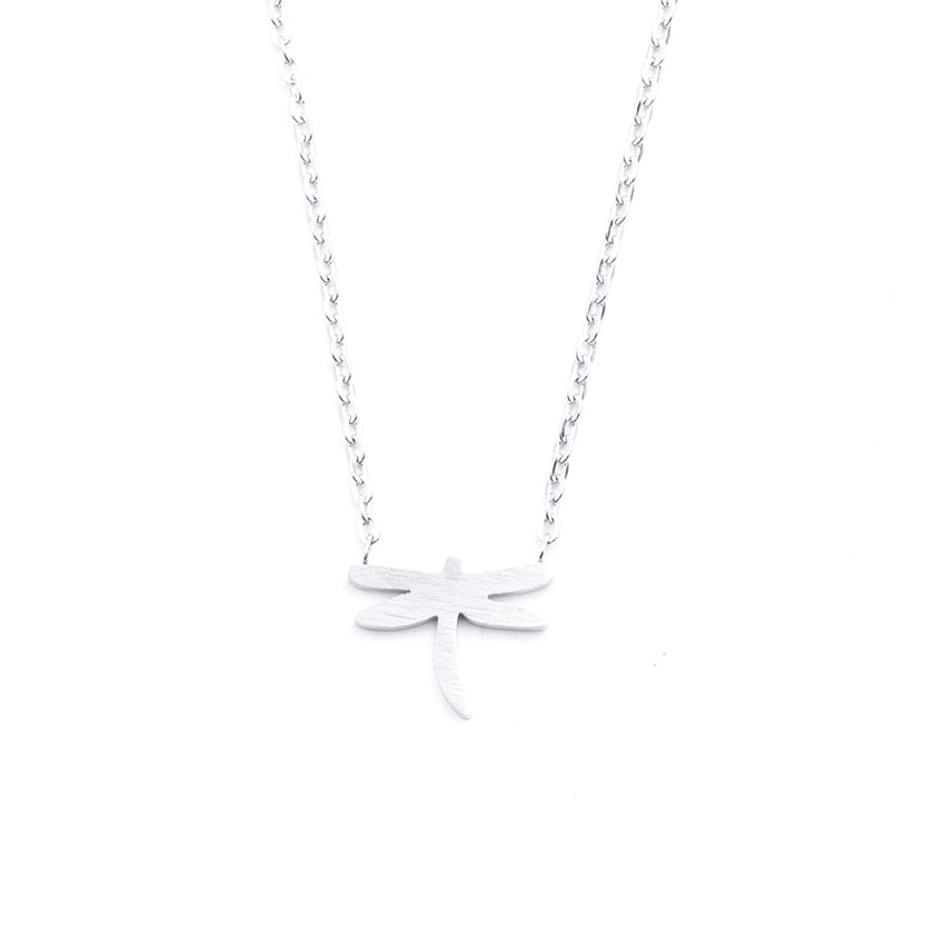Silver - Stainless Steel Dragonfly Cutout Mini Dainty Minimalist Necklace