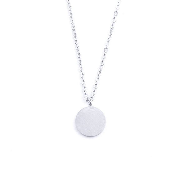 Silver - Stainless Steel Geometric Circle Disc Cutout Mini Dainty Minimalist Necklace