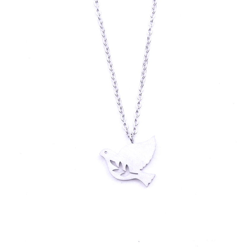 Silver - Stainless Steel Peace Dove Bird Cutout Mini Dainty Minimalist Necklace
