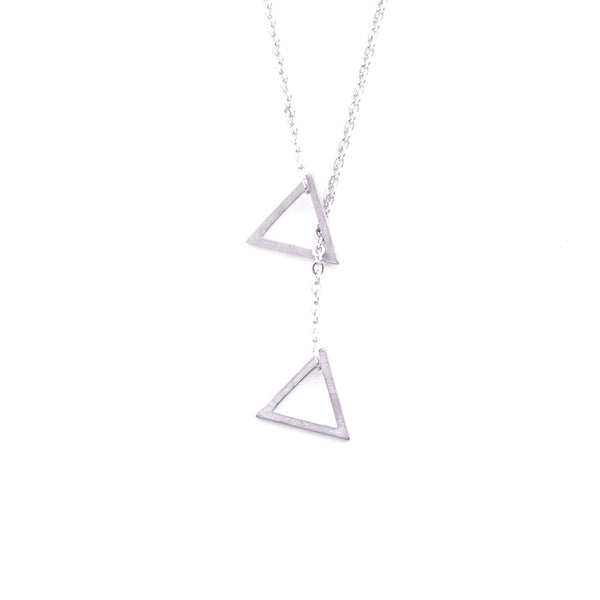 Silver - Stainless Steel Triangle Lariat Cutout Mini Dainty Minimalist Necklace
