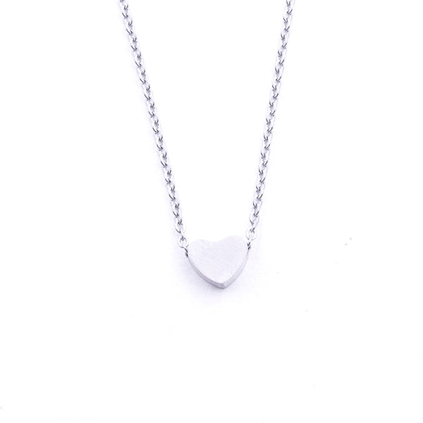 Silver - Stainless Steel Heart Cutout Mini Dainty Minimalist Necklace