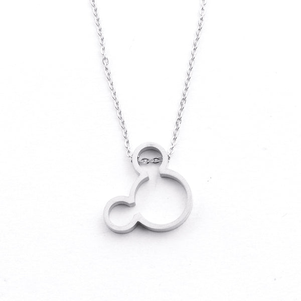 Silver - Stainless Steel Mickey Mouse Cutout Mini Dainty Minimalist Necklace