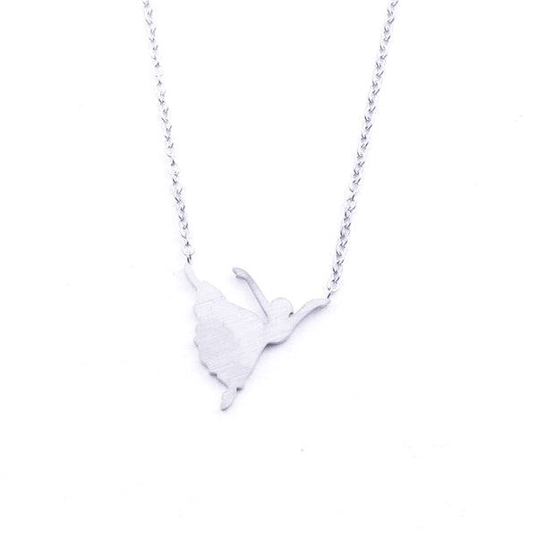 Silver - Stainless Steel Dancer Cutout Mini Dainty Minimalist Necklace