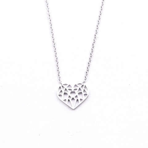 Silver - Stainless Steel Origami Heart Cutout Mini Dainty Minimalist Necklace