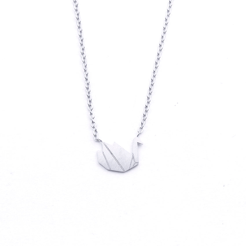 Silver - Stainless Steel Swan Cutout Mini Dainty Minimalist Necklace