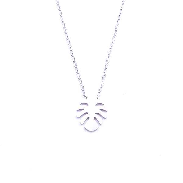 Silver - Stainless Steel Monstera Leaf Cutout Mini Dainty Minimalist Necklace