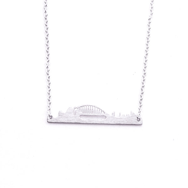 Silver - Stainless Steel Sydney Australia Cutout Mini Dainty Minimalist Necklace