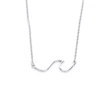 Silver - Stainless Steel Curved Ocean Wave Cutout Mini Dainty Minimalist Necklace