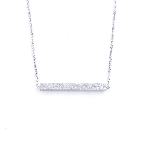 Silver - Stainless Steel Geometric Bar Mini Dainty Minimalist Necklace