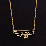 Rose Gold - Stainless Steel Safety Pin Leaves Branch Cutout Mini Dainty Minimalist Necklace
